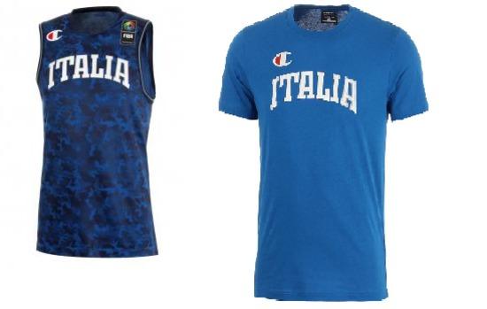 kit composto da canotta camouflage + t-shirt di colore blu